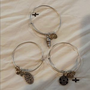 3 Alex and Ani Expandable Wire Bangles